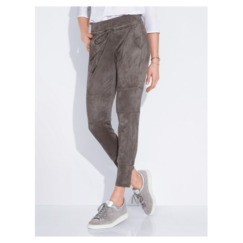 Raffaello Rossi ladies trousers raffaello rossi women ankle-length trousers in imitation suede dark taupe  inside leg length approx 60645288 DVVWKSM