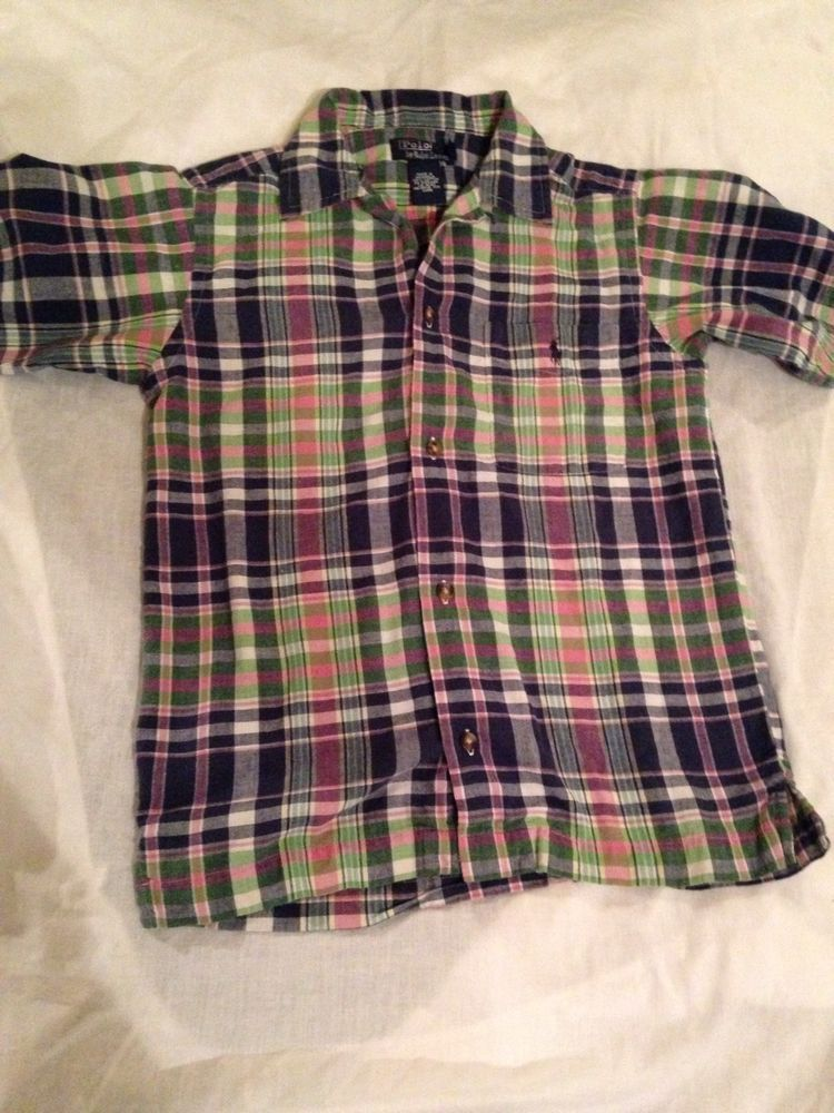 RALPH LAUREN CHILDREN'S CLOTH boys polo ralph lauren blue green pink plaid short sleeve button down shirt TGJLJLC