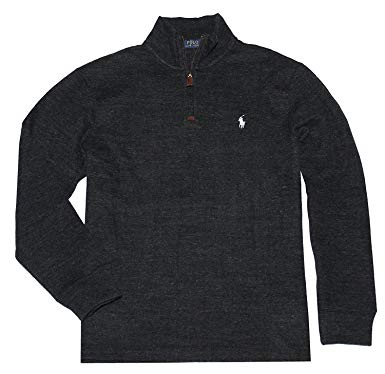 RALPH LAUREN PULLOVER polo ralph lauren men half zip french rib cotton sweater (xs, black white MIXRKCI