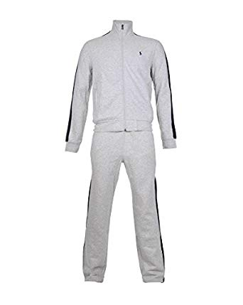 Ralph Lauren Tracksuits ralph lauren mens grey full tracksuit - jacket u0026 bottoms with navy stripe YSTNIPX