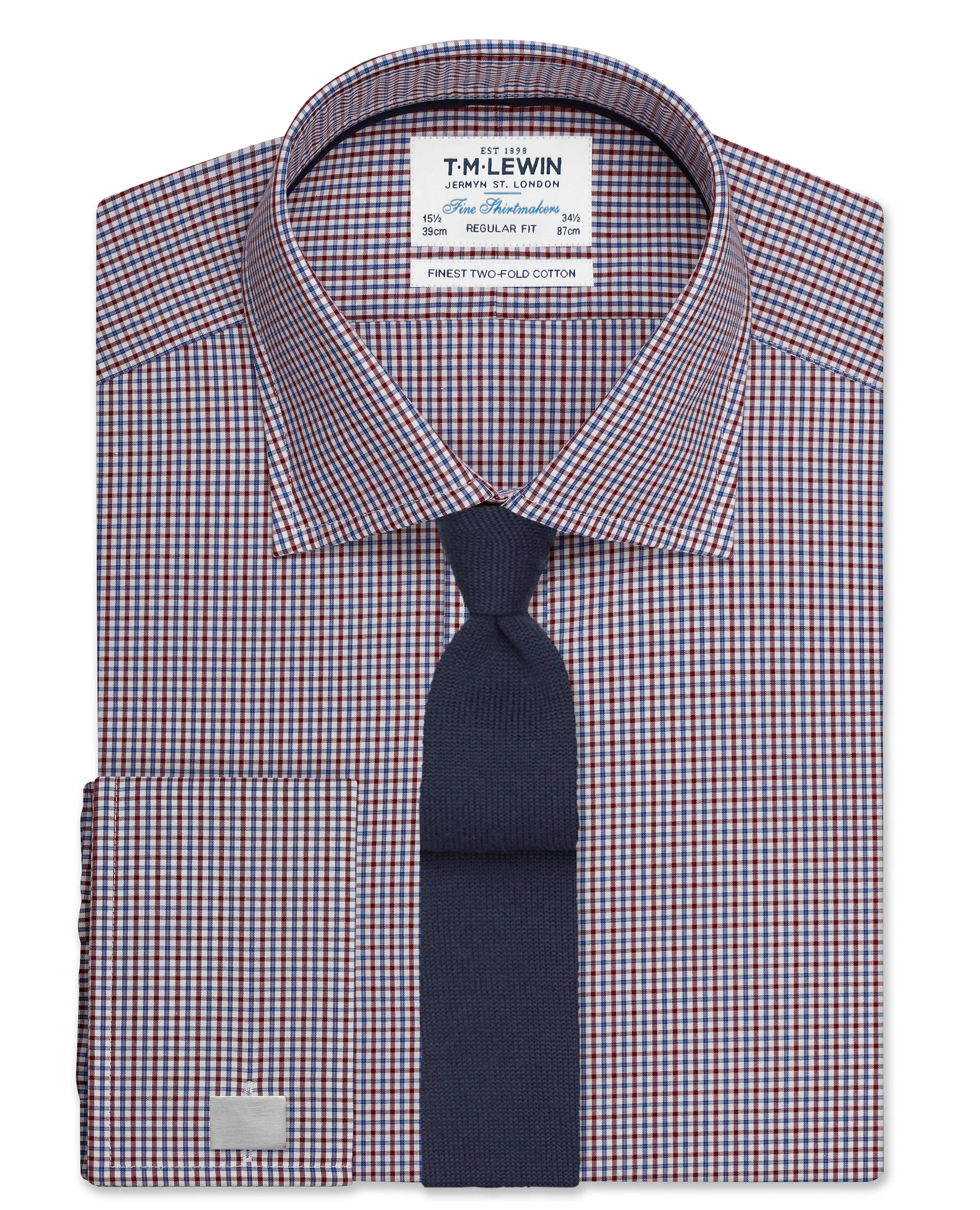 Regular Fit shirts regular fit burgundy and navy micro check shirt - double cuff GLSALNR