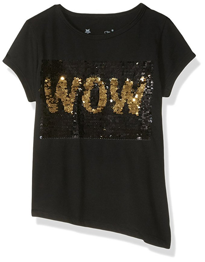 Sequin Shirts custom gold reversible shiny sequin t shirt black wow change 2 way sequins  letter funny EFLXHUJ