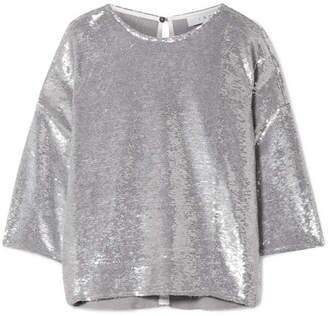 Sequin Shirts ... iro naphe oversized sequined cotton t-shirt - silver DFCIUDO