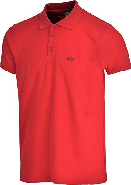 Shark Collar Shirts john shark polo shirts for men cotton classic embroidered logo (s, red) SCZLWEB