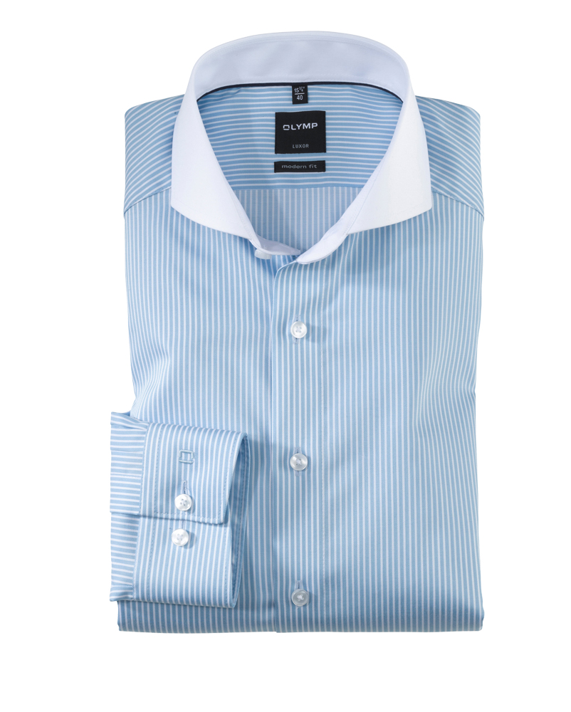 Shark Collar striped shirt with contrasting shark-collar, modern fit HSSOUNJ