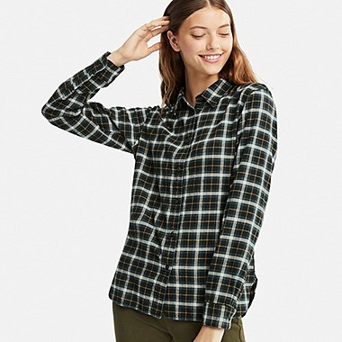 Shirt for women women flannel checked long-sleeve shirt, dark green, medium BJFZEJR