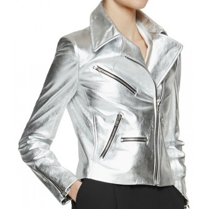 Silver jackets silver stylish leather jacket for women TBUJIXE
