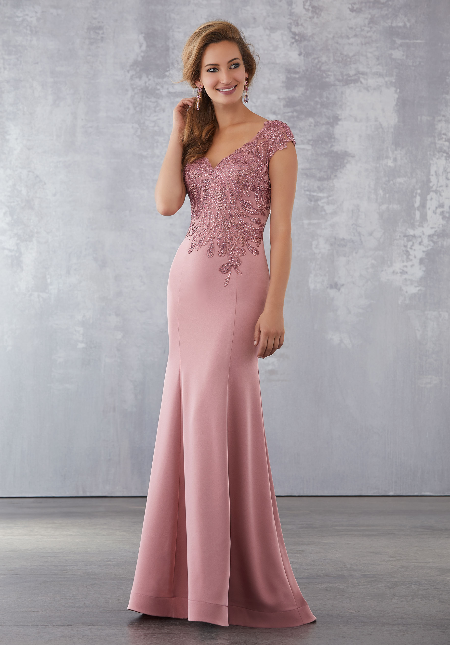 Special Occasion Dresses crepe special occasion dress with beading and embroidered appliqués SJKFIMG