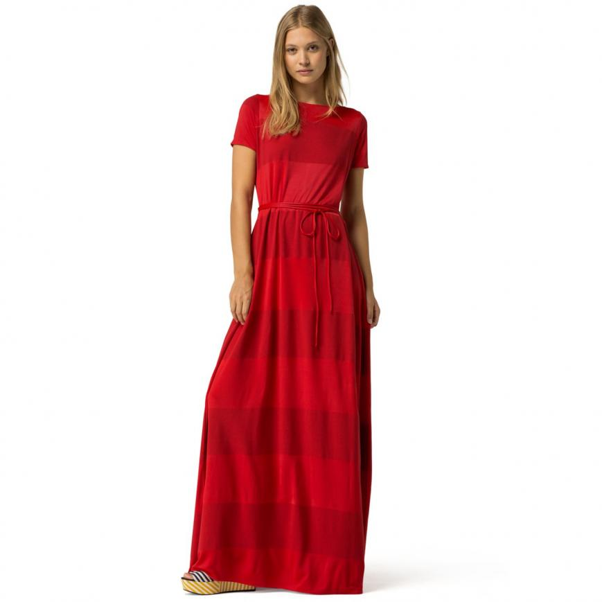 TOMMY HILFIGER DRESSES dresses u0026 skirts red - tommy hilfiger maxi wrap dress gigi hadid womens  apple red UJQNIQU