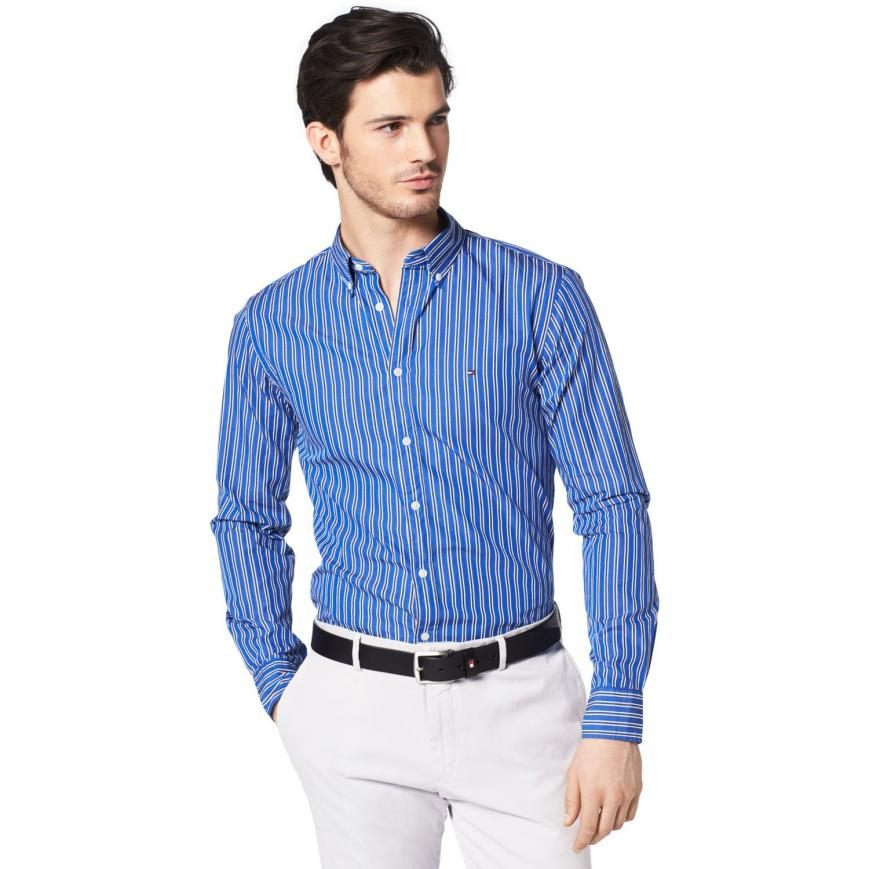 Tommy Hilfiger New York Fit Shirts casual shirts blue - tommy hilfiger new york fit pinstripe shirt mens  nautical blue / JPQXAPT