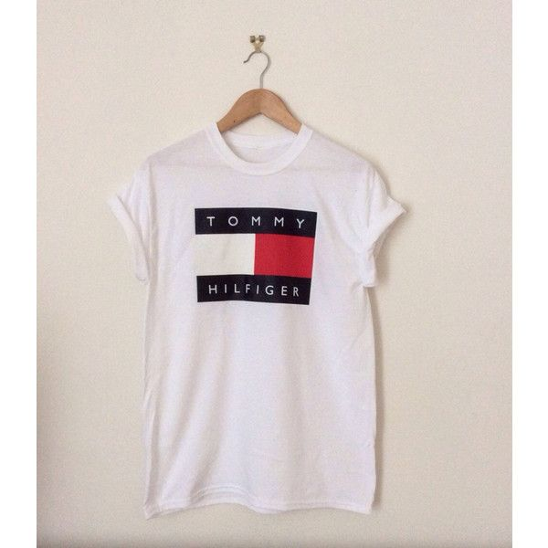 TOMMY HILFIGER SHIRTS FOR WOMEN classic white tommy hilfiger swag sexy style top tshirt fresh boss... ($23)  ❤ liked on VAZOJQU