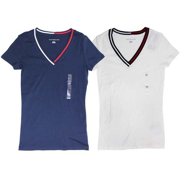 TOMMY HILFIGER SHIRTS FOR WOMEN tommy hilfiger tommy hilfiger womens v neck t shirt tops navy / white HTCUZSZ