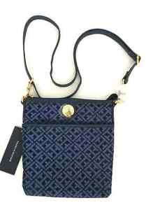 TOMMY HILFIGER SHOULDER BAGS image is loading tommy-hilfiger-navy-blue-jacquard-ns-xbody-crossbody- LSGNOUQ
