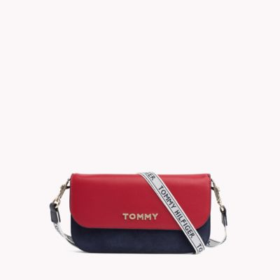 TOMMY HILFIGER SHOULDER BAGS suede and leather convertible wallet UUKRDGG