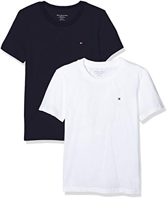 TOMMY HILFIGER T-SHIRTS tommy hilfiger 2-pack icon cotton crew-neck boys t-shirts, white FXQSSUZ