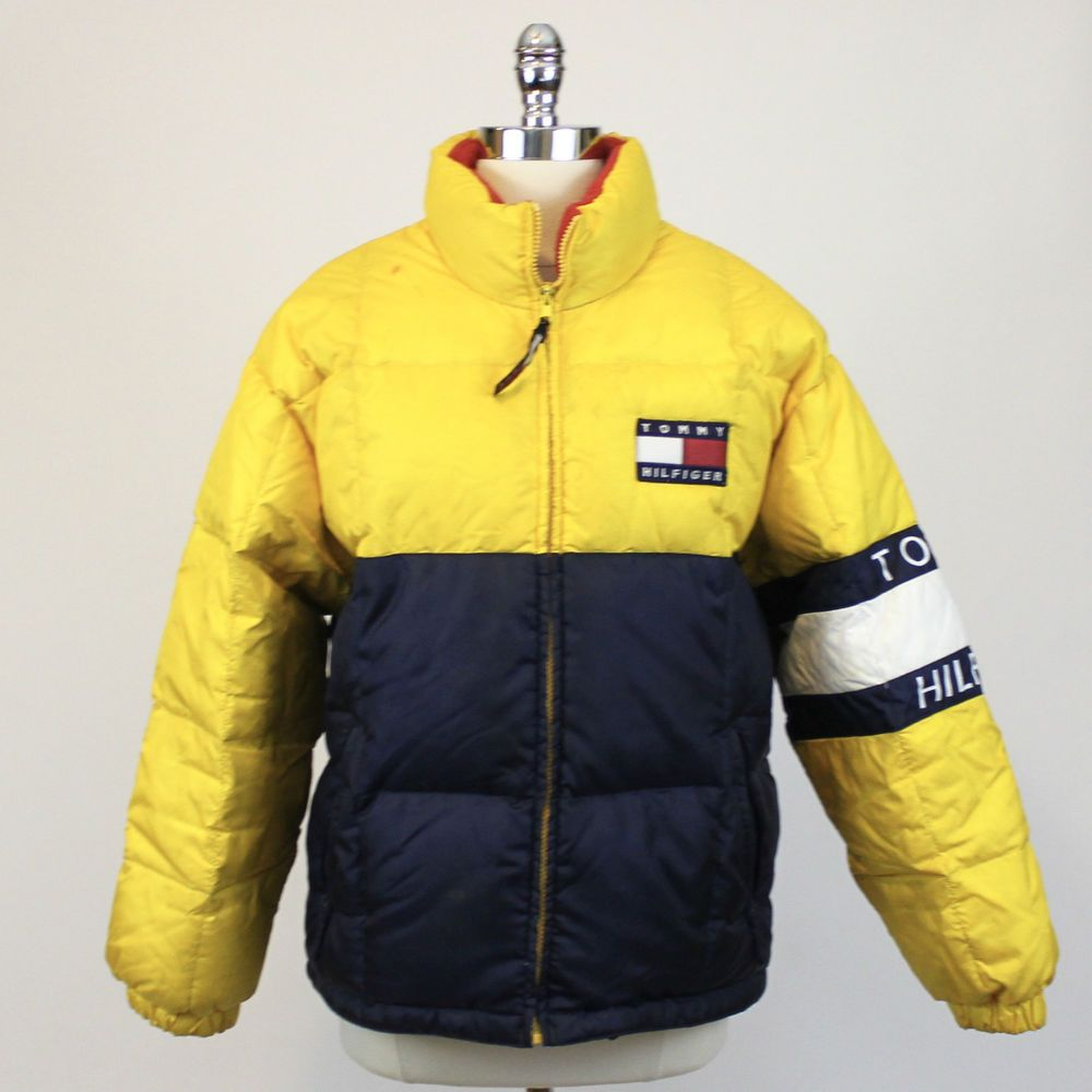 TOMMY HILFIGER WINTER COATS tommy hilfiger rare big logo puffer down yellow winter jacket vintage 90s  mens l #tommyhilfiger ETUXMKR