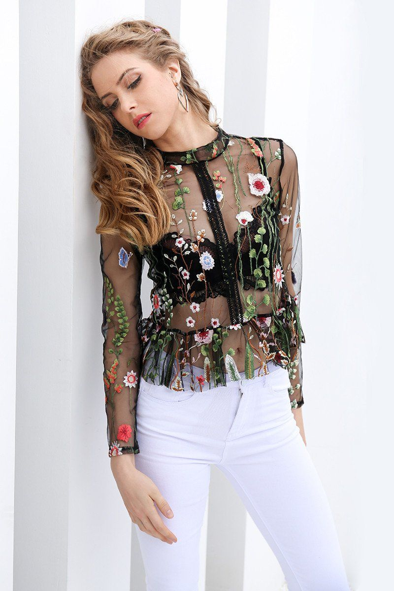 Transparent Blouses floral transparent blouse DAOHULB