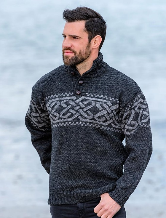Troyer Sweater celtic troyer sweater - charcoal/grey RRHQMTT