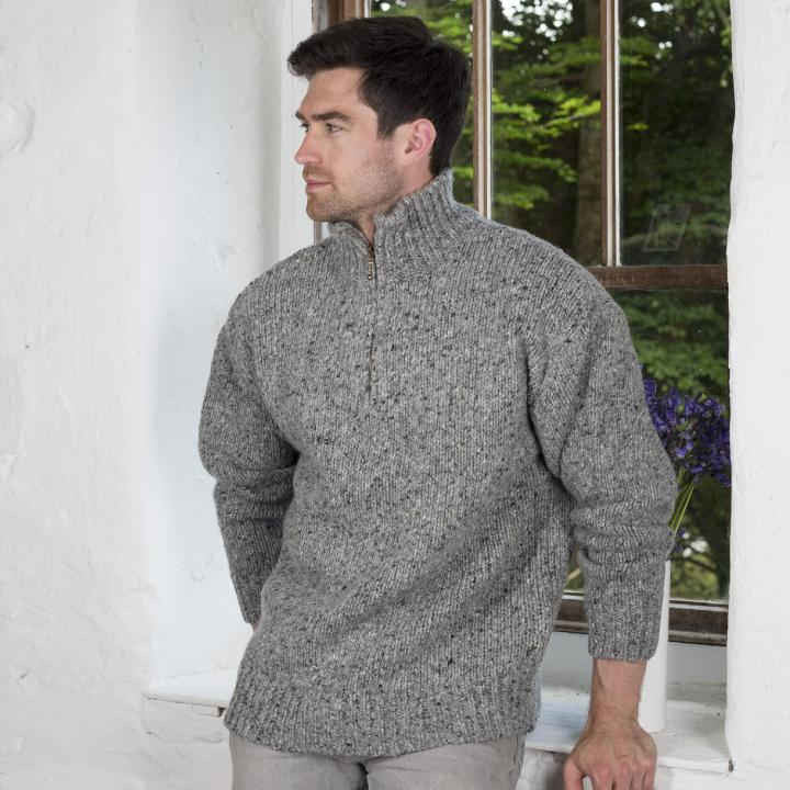 Troyer Sweater mens zipper troyer irish aran sweater | 100% merino wool YEFMZJT