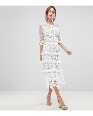 True Decadence true decadence premium all over cutwork lace contrast midi dress with frill  sleeve detail - LADHNPC