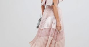 True Decadence true decadence ruffle trim and lace insert pleated skirt with sleeveless  dusty pink dress MEMORPY