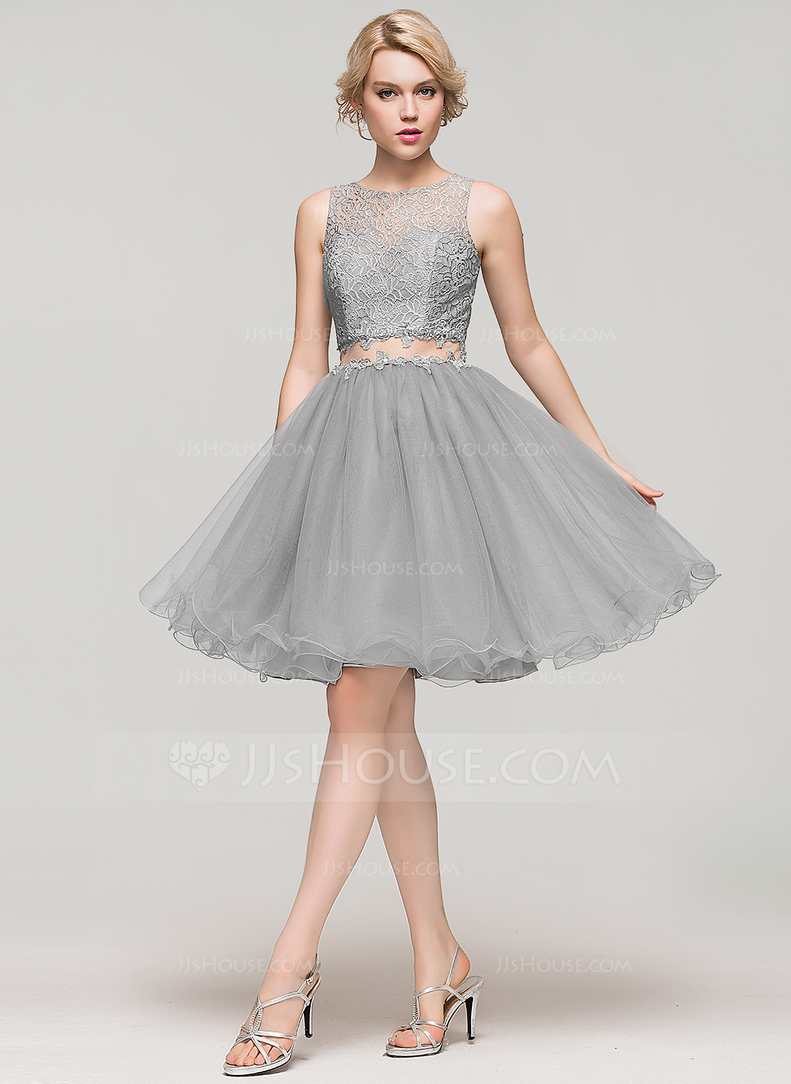 Tulle Dresses a-line/princess scoop neck knee-length tulle lace homecoming dress with  beading. loading zoom XHGQPLX