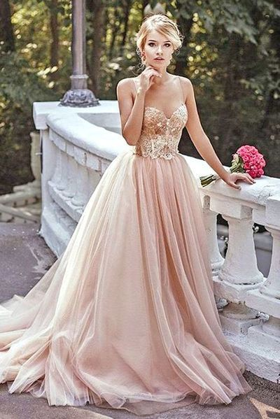 Tulle Dresses gold sequin a line evening prom dresses, long tulle party prom dress,  custom long MYZDWDF
