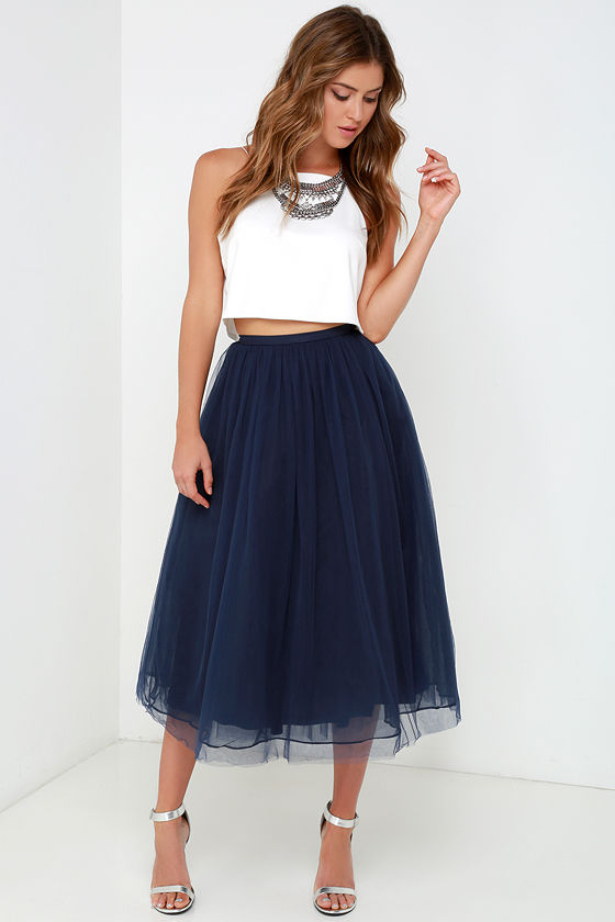 Tulle Skirts give it a twirl navy blue tulle midi skirt FUNJKBV
