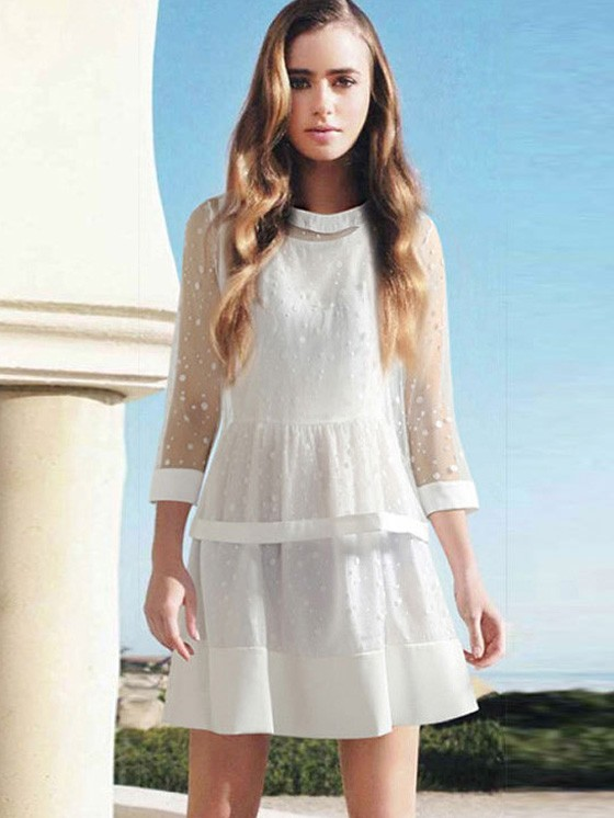 TWIN SET DRESSES white fashion twinset seventh sleeve gauze top + polka dot lace vest dress TVETCXM