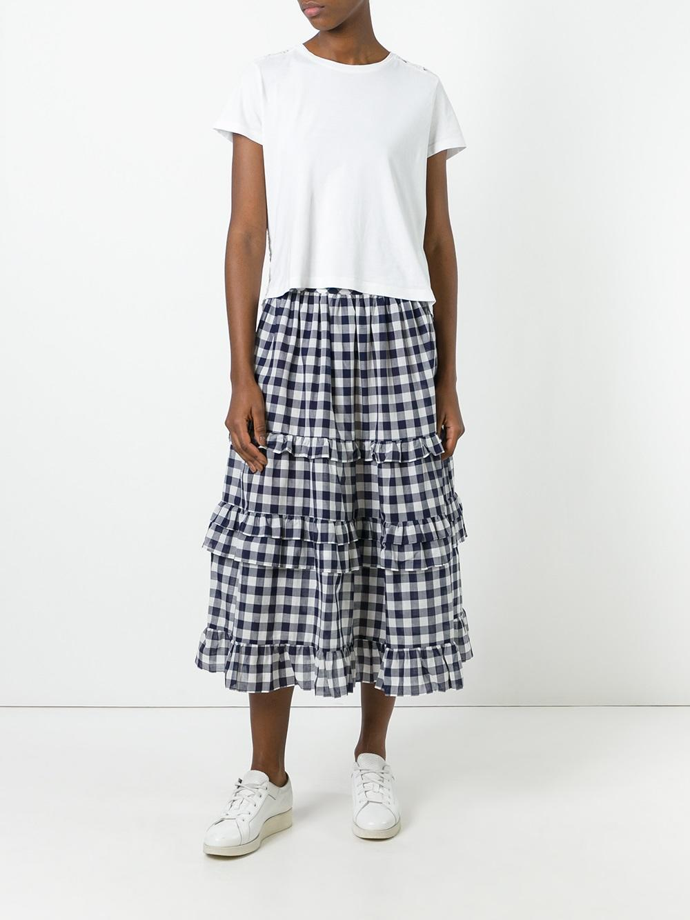 Twin set in the outlet twin-set gingham check skirt 305m mid blu women clothing full skirts,twin  set ... XRZPVYB