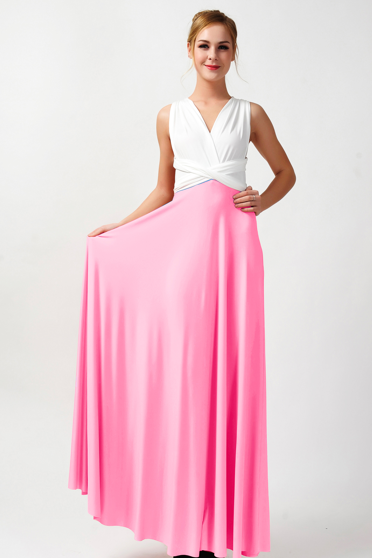 Two tone dresses convertible bridesmaid dresses two tone dresses ivory and pink ZAQPLAF