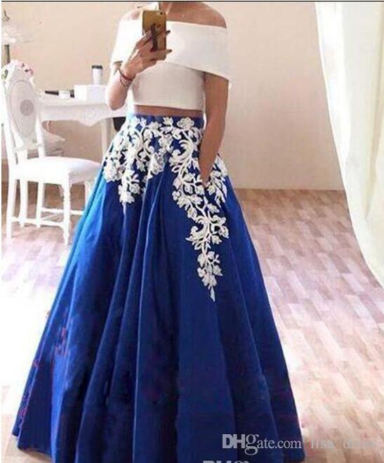Two tone dresses two pieces prom dresses two tone 2018 fashion lace appliques soft satin  elegant formal evening SNIKVBN