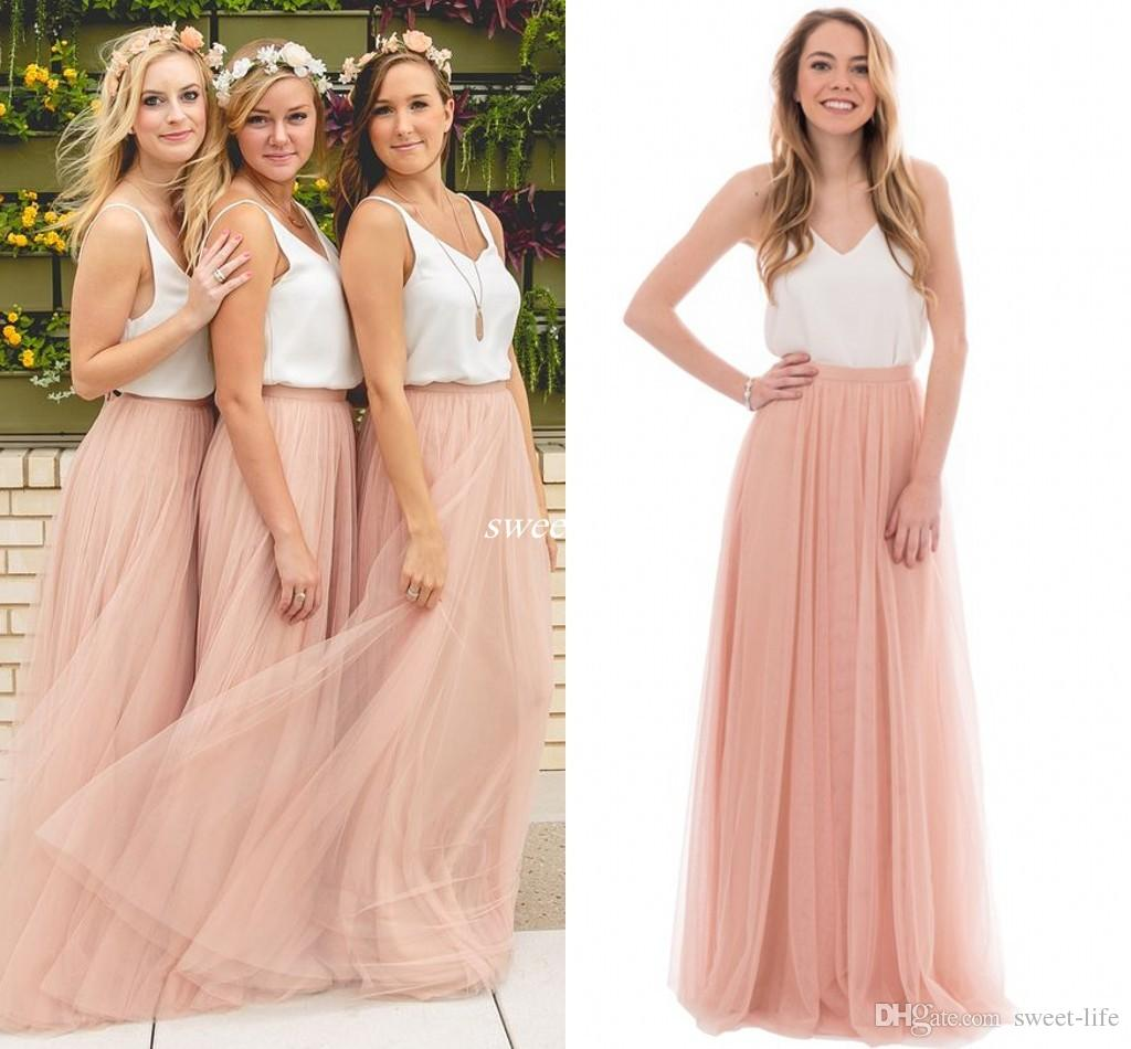 Two tone dresses two tone country wedding boho bridesmaid dresses blush tulle v neck 2016  cheap long party NSASPSI