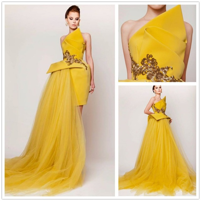 UNIQUE EVENING DRESSES new arrival evening gowns yellow strapless sleeveless elegant sexy short  unique eveningu0026prom dress VHACPBU