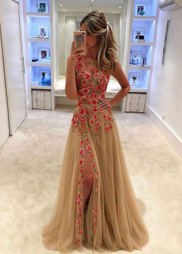 UNIQUE EVENING DRESSES unique champagne tulle lace long prom dress,champagne evening dresses LUWDACR