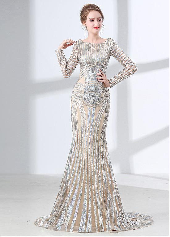 UNIQUE EVENING DRESSES unique sequin lace scoop neckline long sleeves mermaid evening dress UYMIRCI