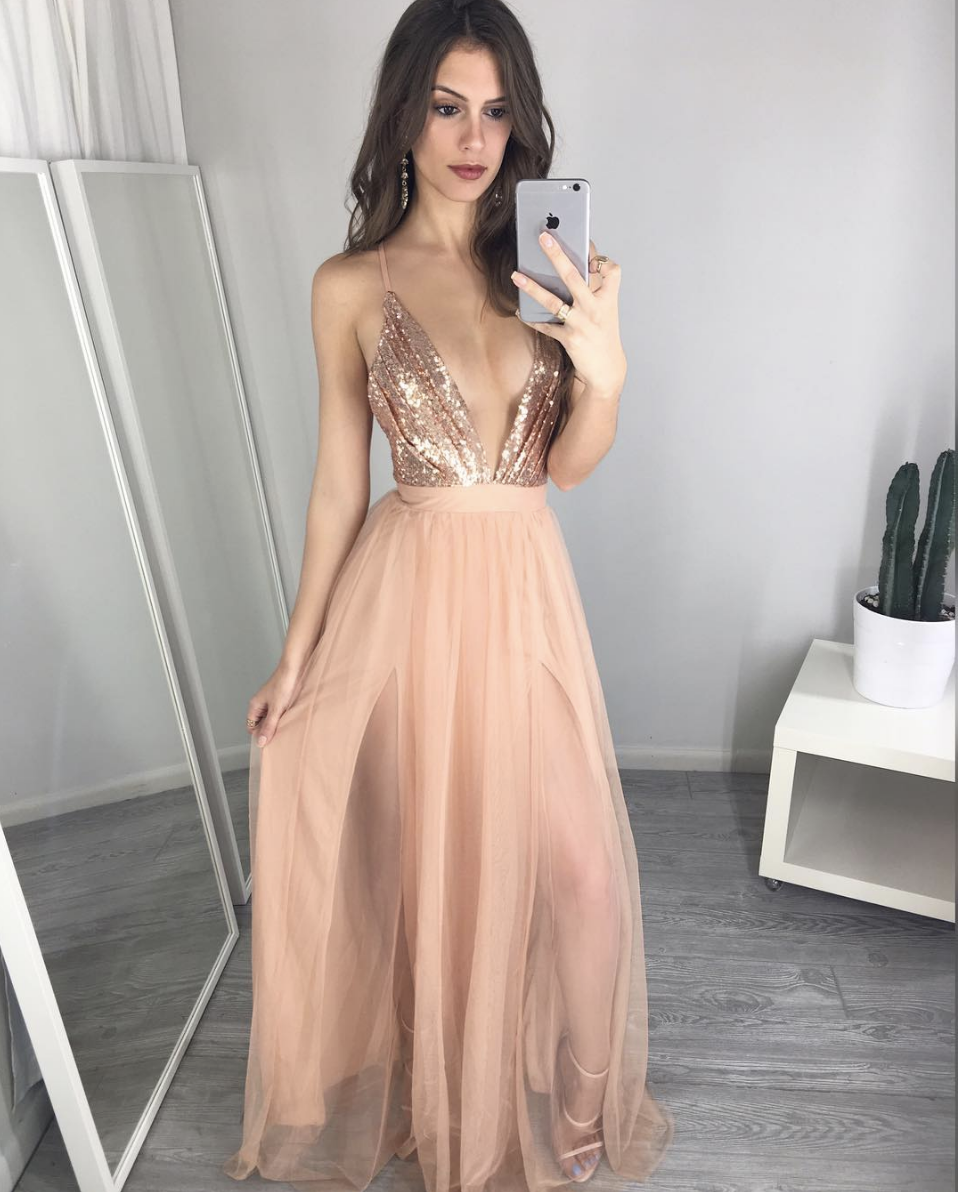 UNIQUE EVENING DRESSES unique v neck sequin long prom dress, evening dress ZJGVOWG