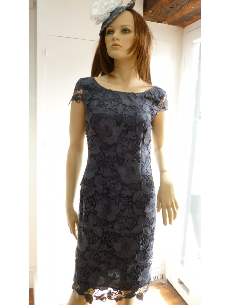 VERA MONT DRESSES vera mont lace dress with cap sleeve u0026 laced edge to edge coat slate YWUFHGG