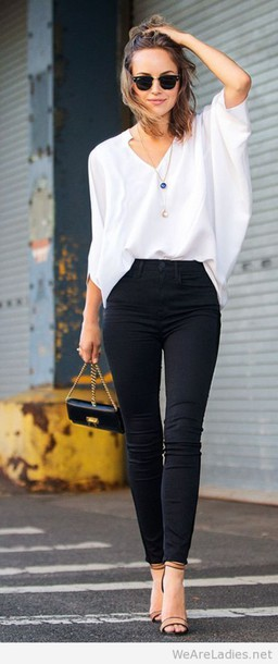 Waisted blouse pants, high waisted black pants, top, bag, blouse, shirt, white shirt,  white blouse, BGUWEPD