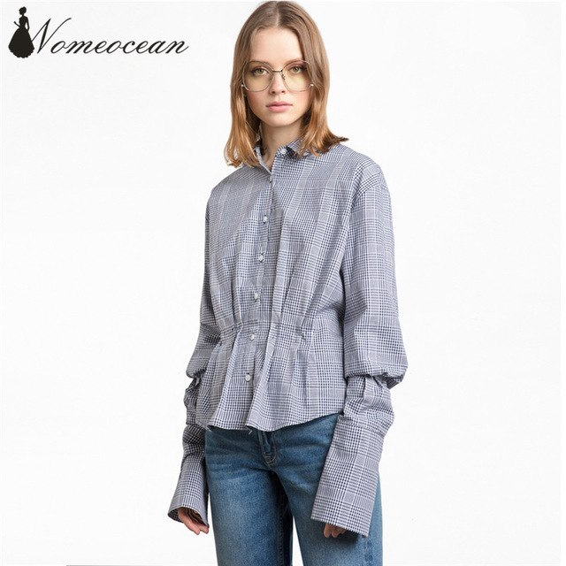 Waisted blouse vintage plaid shirts ruched detail waisted ol shirt 2017 autumn button  front women HBJHCNV