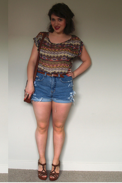 Waisted Shirts blue high-waisted diy shorts - bubble gum sheer 5th and culture shirt LUMISCW