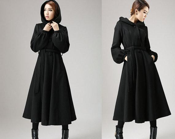 Waisted winter coat black wool coat - womens swing coat with tie belt waist long sleeve winter MEQXYHX