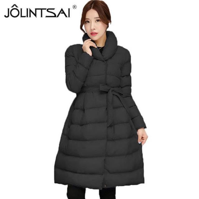 Waisted winter coat jolintsai winter new waisted coat women parkas long jackets padded coats  thick womens KPZOUPF