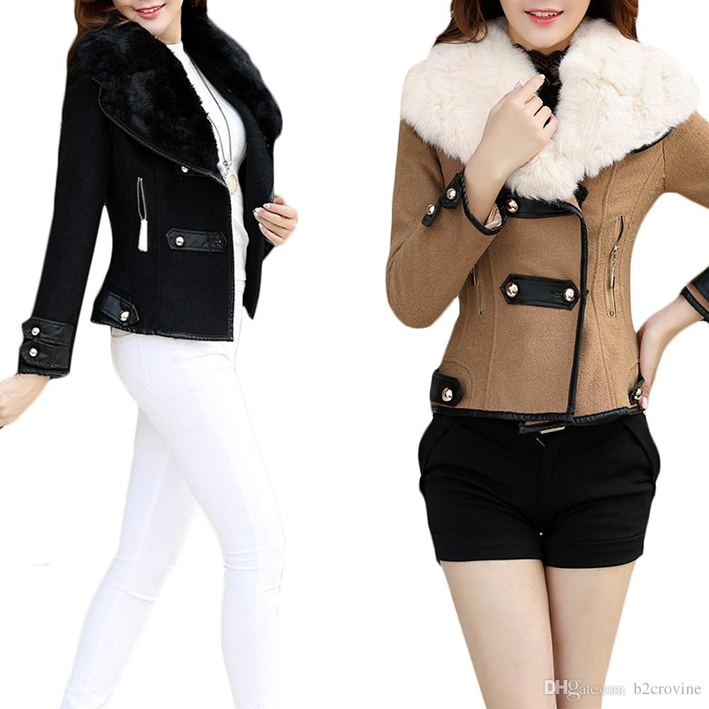 Waisted winter coat s5q womens winter jacket outwear warm lady faux fur collar short slim coat XYPBZJB