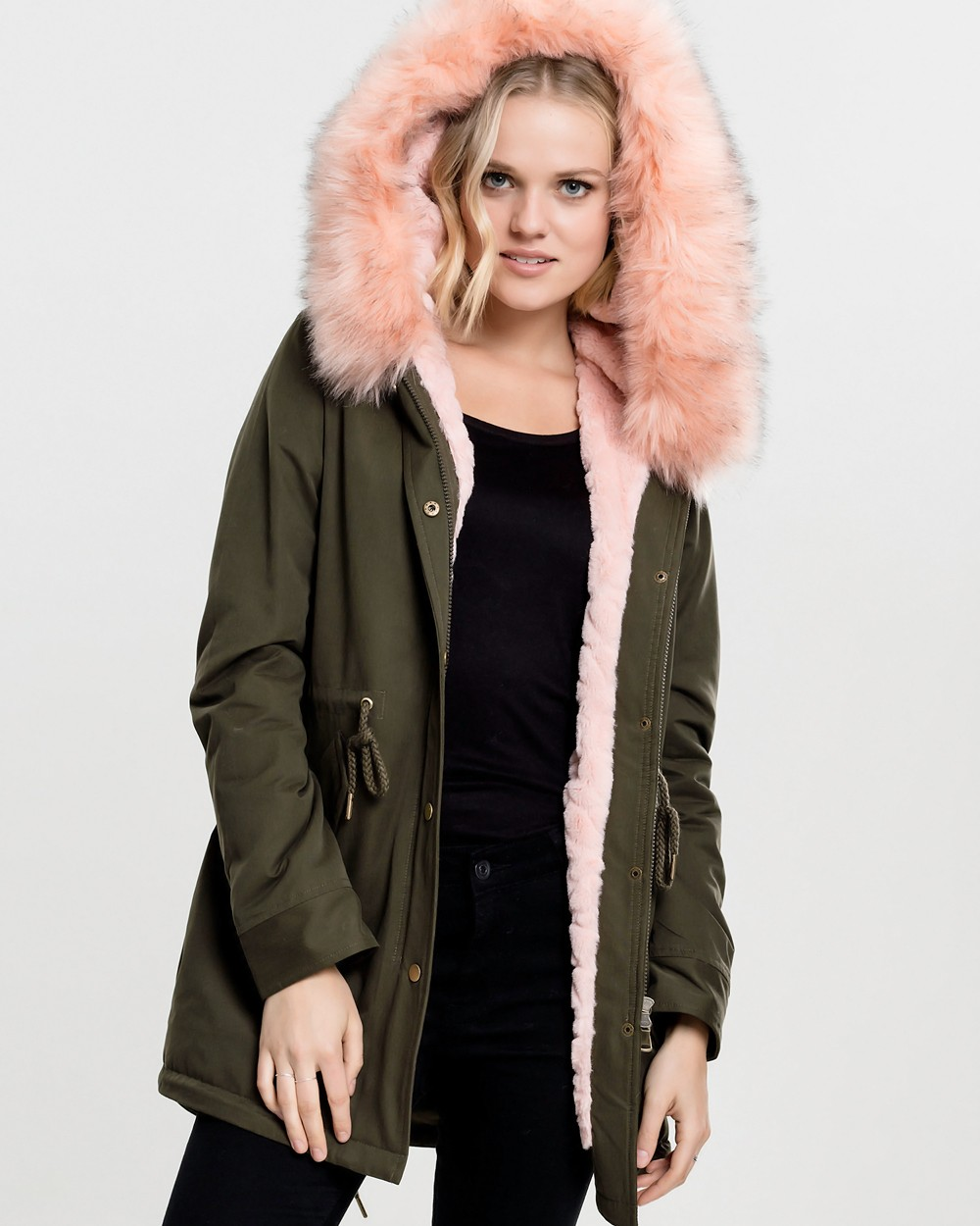Winter jacket with teddy lining pink teddy lined parka olive - winter jacket BDYNZNX