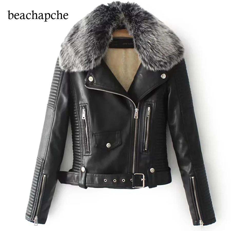 Winter Leather Jacket Women 2018 wholesale winter artificial leather jacket women fur neck warm short  jacket especially VDWEUSF