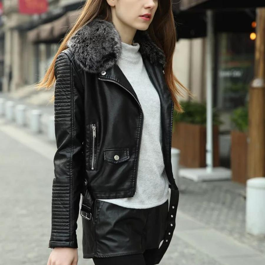Winter Leather Jacket Women 2018 women winter thick leather jacket with fur collar pink black bomber  motorcycle KHRIZVX