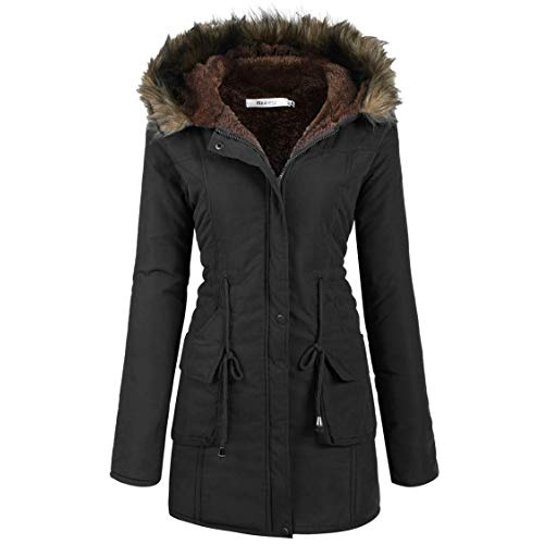 Winter Parkas meaneor womens hooded warm winter faux fur lined parkas long coats OSDABAK