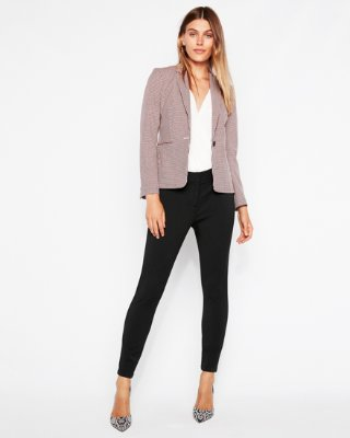 Women's Blazer check print notch collar one button blazer | express UCZTEKA