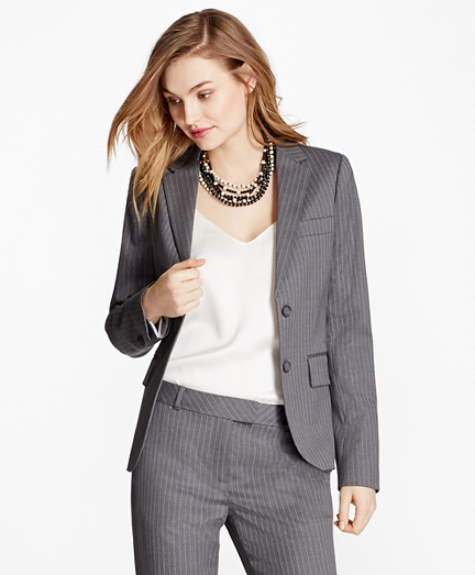 Women's Blazer pinstripe stretch wool two-button jacket TCNBJMW